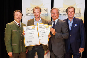 Weingut Plos, links: Geschäftsführer ÖWM Willi Klinger, rechts: Direktor Casino Baden Edmund Gollubitz,Leiter Food & Beverage Casinos Austria Oliver Kitz