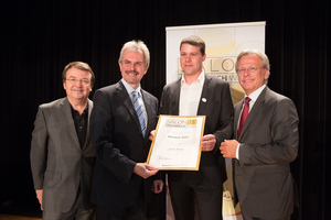 Weingut Jalits, links: Geschäftsführer ÖWM Willi Klinger & Landesrat Niederösterreich Karl Wilfing, rechts: Direktor Casino Baden Edmund Gollubitz