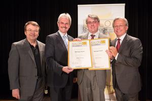 Weingut Koch, links: Geschäftsführer ÖWM Willi Klinger & Landesrat Niederösterreich Karl Wilfing, rechts: Direktor Casino Baden Edmund Gollubitz