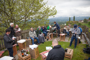 """Weingipfel 2017: Vineyard hike to the Lubekogel and tasting """"Hidden gems of South Styria featuring Muskateller, Weissburgunder and Welschriesling"""" with an awesome view (attainable, not too challenging) Presented by: Sabine Flieser-Just (President of the Styrian Sommelier Union), Glanz an der Weinstraße"""