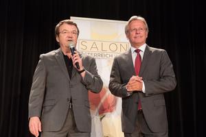 SALON Baden 2015 - v.l.n.r. Geschäftsführer ÖWM Willi Klinger, Direktor Casino Baden Edmund Gollubitz