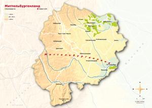 Topografische Karte Mittelburgenland russisch