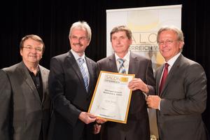 Weingut Göschl Reinhard & Edith, links: Geschäftsführer ÖWM Willi Klinger & Landesrat Niederösterreich Karl Wilfing, rechts: Direktor Casino Baden Edmund Gollubitz
