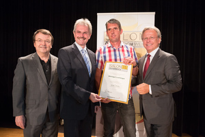 Weingut Lachinger, links: Geschäftsführer ÖWM Willi Klinger & Landesrat Niederösterreich Karl Wilfing, rechts: Direktor Casino Baden Edmund Gollubitz