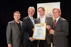 Weingut Rosner, links: Geschäftsführer ÖWM Willi Klinger & Landesrat Niederösterreich Karl Wilfing, rechts: Direktor Casino Baden Edmund Gollubitz