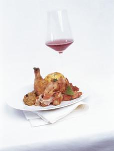 Fasan mit Rotwein