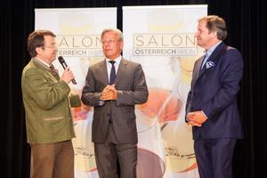 SALON Baden 2014 - v.l.n.r.: Geschäftsfüher ÖWM Willi Klinger, Direktor Casino Baden Edmund Gollubitz, Leiter Food&Beverage Casinos Austria Oliver Kitz