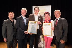 Weingut Puhr, links: Geschäftsführer ÖWM Willi Klinger & Landesrat Niederösterreich Karl Wilfing, rechts: Direktor Casino Baden Edmund Gollubitz