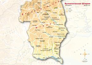 Topografische Karte Vulkanland russisch