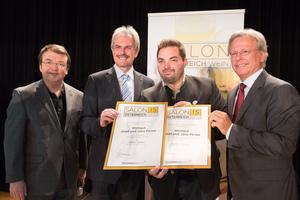Weingut Josef & Jana Piriwe, links: Geschäftsführer ÖWM Willi Klinger & Landesrat Niederösterreich Karl Wilfing, rechts: Direktor Casino Baden Edmund Gollubitz