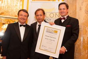 SALON 2014 Sieger: Weingut Stadt Krems, Kremstal (Bild Mitte), links: Geschäftsführer ÖWM Willi Klinger, rechts: Präsident des österreichischen Weinbauverbandes NR Hannes Schmuckenschlager