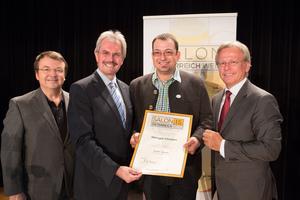 Weingut Christen, links: Geschäftsführer ÖWM Willi Klinger & Landesrat Niederösterreich Karl Wilfing, rechts: Direktor Casino Baden Edmund Gollubitz