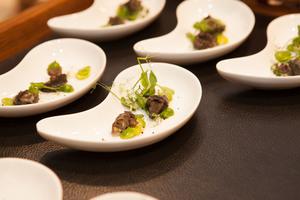 SALON Gala Dinner 2014 - Festliches Menü von Norbert Niederkofler - Amouse Bouche - Weinbergschnecken im Garten