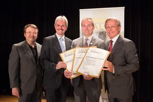 Weingut Schilcherweingut Friedrich, links: Geschäftsführer ÖWM Willi Klinger & Landesrat Niederösterreich Karl Wilfing, rechts: Direktor Casino Baden Edmund Gollubitz