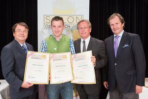 Weinhof Posch, links GF Willi Klinger, rechts Dir. Edmund Gollubits, Casino Baden und Mag. Oliver Kitz, Casinos Austria