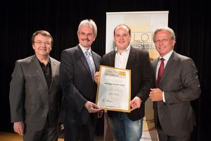 Weingut Stefan Kast, links: Geschäftsführer ÖWM Willi Klinger & Landesrat Niederösterreich Karl Wilfing, rechts: Direktor Casino Baden Edmund Gollubitz