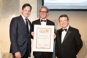 SALON 2017 Auserwählter: Weingut Bründlmayer (Bild Mitte), rechts: Geschäftsführer ÖWM Willi Klinger, links: Präsident des österreichischen Weinbauverbandes NR Hannes Schmuckenschlager