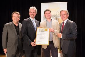 Weingut Gabriel Johannes, links: Geschäftsführer ÖWM Willi Klinger & Landesrat Niederösterreich Karl Wilfing, rechts: Direktor Casino Baden Edmund Gollubitz