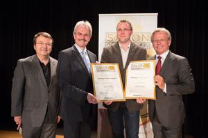 Weingut Heinz Bauer, links: Geschäftsführer ÖWM Willi Klinger & Landesrat Niederösterreich Karl Wilfing, rechts: Direktor Casino Baden Edmund Gollubitz