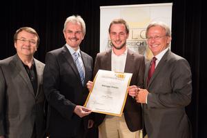 Weingut Prieler, links: Geschäftsführer ÖWM Willi Klinger & Landesrat Niederösterreich Karl Wilfing, rechts: Direktor Casino Baden Edmund Gollubitz