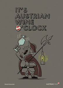 Cartoon/Freecard: Austrian wine o'clock