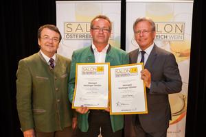 Weingut Weilinger Günter, links: Geschäftsführer ÖWM Willi Klinger, rechts: Direktor Casino Baden Edmund Gollubitz