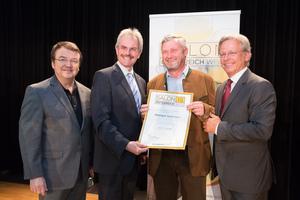 Weingut Gutmann, links: Geschäftsführer ÖWM Willi Klinger & Landesrat Niederösterreich Karl Wilfing, rechts: Direktor Casino Baden Edmund Gollubitz