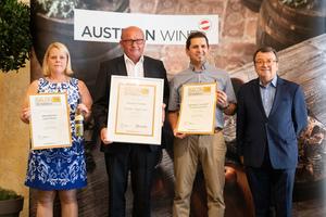SALON 2019 Publikumsverkostung Wien, Palais Coburg, Siegerehrung der Top 3 in der Kategorie Edelsüße Weine
