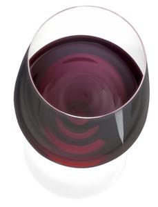 Rotweinglas Rotwein von oben