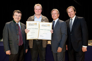 Weingut Ludwig Hofbauer, links GF Willi Klinger, rechts Dir. Edmund Gollubits, Grand Casino Baden und Mag. Oliver Kitz, Casinos Austria