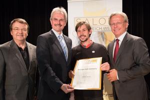 Weingut Stift Göttweig, links: Geschäftsführer ÖWM Willi Klinger & Landesrat Niederösterreich Karl Wilfing, rechts: Direktor Casino Baden Edmund Gollubitz