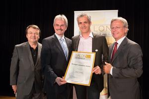 Weingut Johannes Holzer, links: Geschäftsführer ÖWM Willi Klinger & Landesrat Niederösterreich Karl Wilfing, rechts: Direktor Casino Baden Edmund Gollubitz