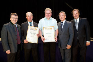 Weingut Kranixfeld Fam. Fischl, links GF Willi Klinger, rechts Dir. Edmund Gollubits, Grand Casino Baden und Mag. Oliver Kitz, Casinos Austria
