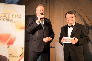 SALON Gala Dinner 2015, Palais Coburg - links: Bundesminister für Land- und Forstwirtschaft, Umwelt und Wasserwirtschaft Andrä Rupprechter, rechts: Geschäftsführer ÖWM Willi Klinger