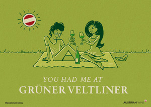 Cartoon/Freecard: Pärchen Grüner Veltliner Querformat