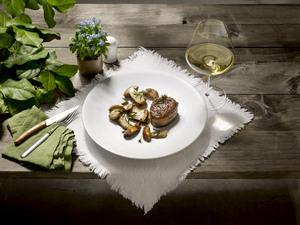 Sautierte Steinpilze und Weißwein