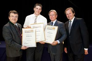 Weingut Puhr, links GF Willi Klinger, rechts Dir. Edmund Gollubits, Grand Casino Baden und Mag. Oliver Kitz, Casinos Austria