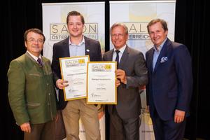 Weingut Hundsdorfer, links: Geschäftsführer ÖWM Willi Klinger, rechts: Direktor Casino Baden Edmund Gollubitz, Leiter Food & Beverage Casinos Austria Oliver Kitz