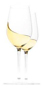 Weißweingläser mit Inhalt Schwung Welle