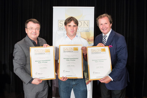 Weingut Kappellenhof Fam. Fischer, links: Geschäftsführer ÖWM Willi Klinger, rechts: Leiter Food & Beverage Casinos Austria Oliver Kitz