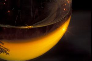 Süßweinglas Nahaufnahme Reflex